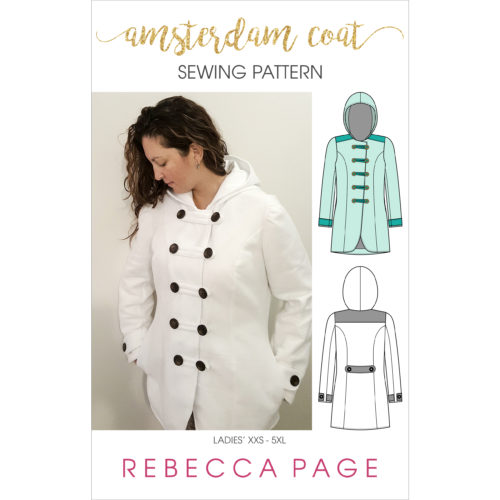 Fully lined all-weather ladies coat pattern in sizes XXS to 5XL. Use different fabrics for different weather or make a raincoat with waterproof fabrics!