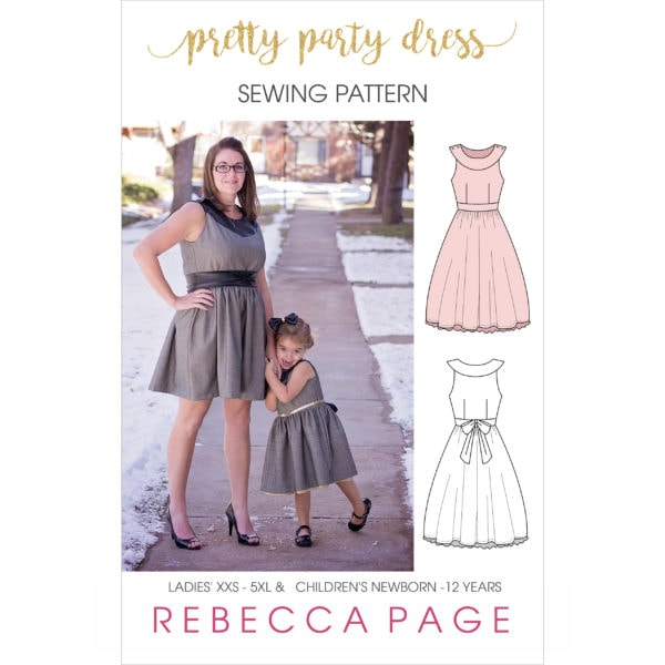 This simply lovely party dress is everything the name promises: prettiness for days! It has many options allowing you to dress it up for party season, or dress it down for more casual wearing (it does make a rather delightful sun dress!). The curved neckband, fitted bodice, and full skirt are a beautiful combination of style and comfort.