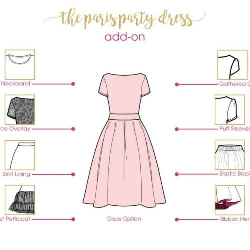 Paris Party Dress Add-on - Line Drawing