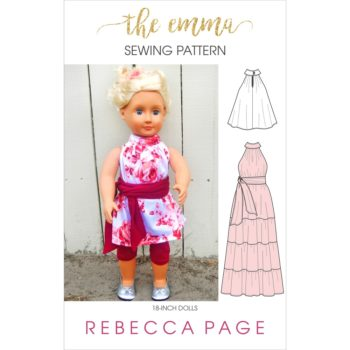 The Emma is an 18-inch dolls high neck dress pattern that has a fitted neckband with a loose, flared body, 5 length options, and loveliness for days!