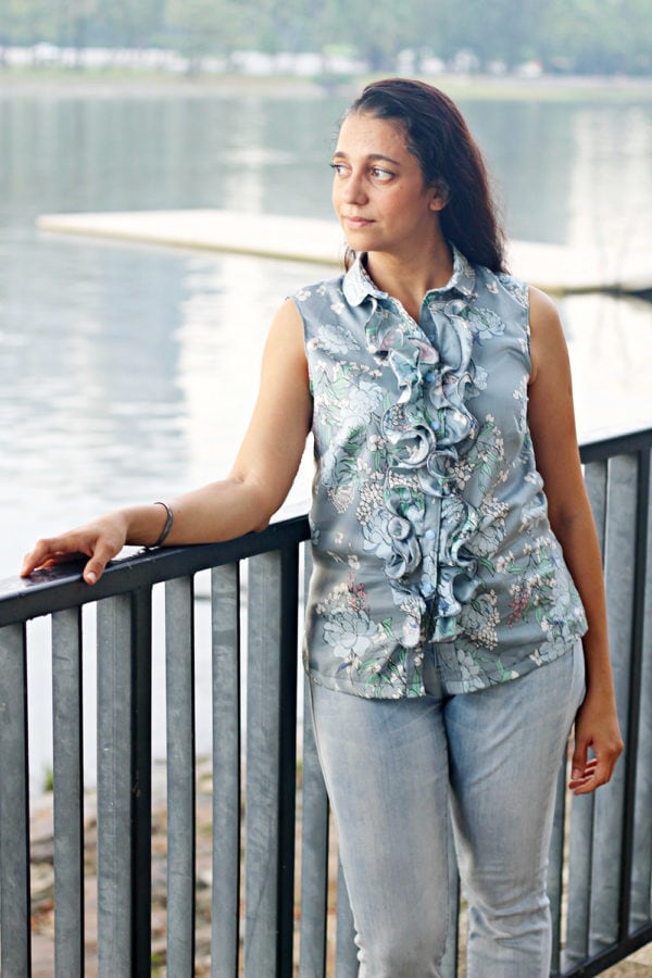 The Riviera Ruffle ladies ruffle shirt pattern is ever so pretty and really versatile. Optioanl front ruffle, side cut bias panels, and the flutter sleeves!