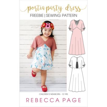 The Free childrens Portia Party Dress pattern. It includes ONE length option (knee length), and pattern pieces & instructions for KNIT fabrics only.