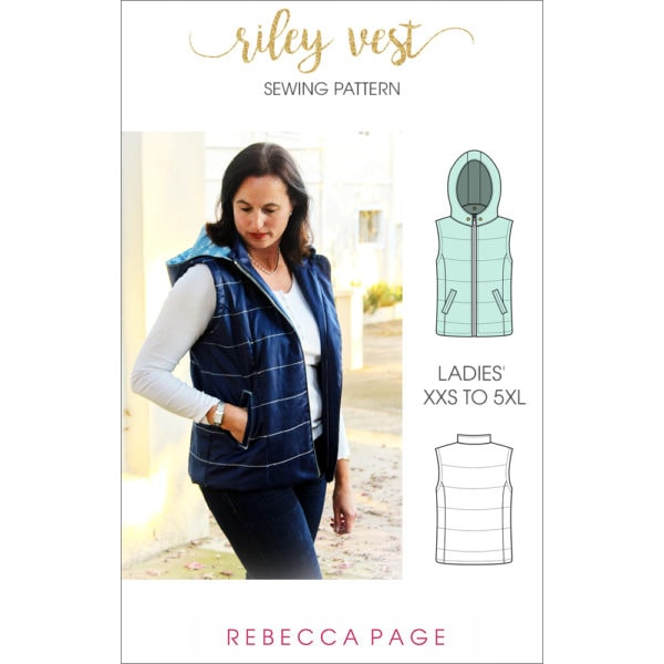 This ladies puffer vest pattern is fully lined, with an optional detachable hood and optional welt or zipper front pockets. Super cosy and really stylish!