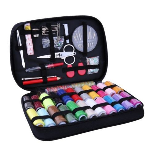 Starter Sewing Kit. Includes all items pictured (thread scissors, thread, tweezers, needles, tailors chalk, and seam ripper) in a handy case.