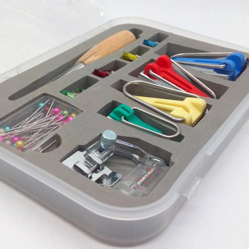 This is a complete Bias Tape Maker Set for nearly all of your bias tape-making needs! Includes 1x 1/4 inch (6mm) green, 1x 1/2 inch (12mm) yellow, 1x 3/4 inch (18mm) red, and 1x 1 inch (25mm) blue bias maker.