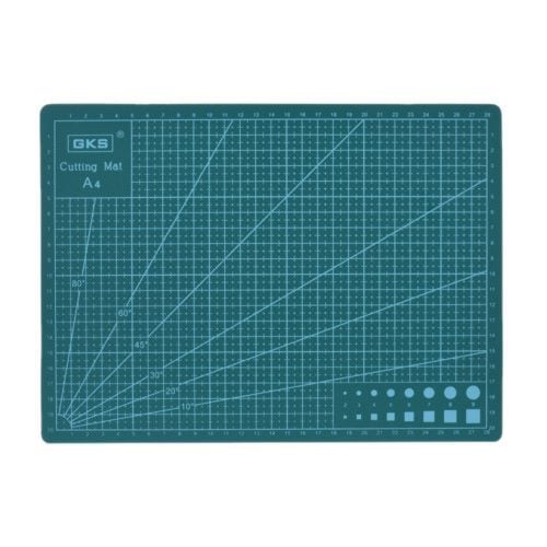 Flexible green PVC 3mm cutting mat, great for craft and sewing projects. For use with rotary cutters or blades. A2, A3 or A4 sizes available.