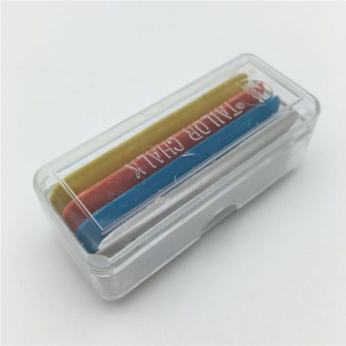 4PC Tailor's Chalk set in blue, orange, white, and yellow. These chalks are thick and sturdy.