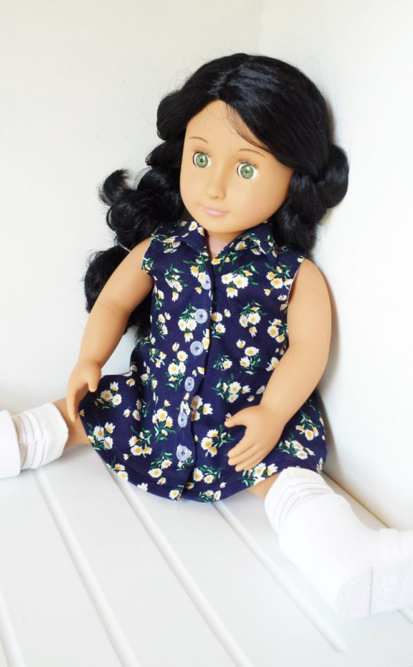"The words ""simply"" and ""beautiful"" take shape in Sofia, the dolls shirt dress sewing pattern. Add her to your pattern collection!"