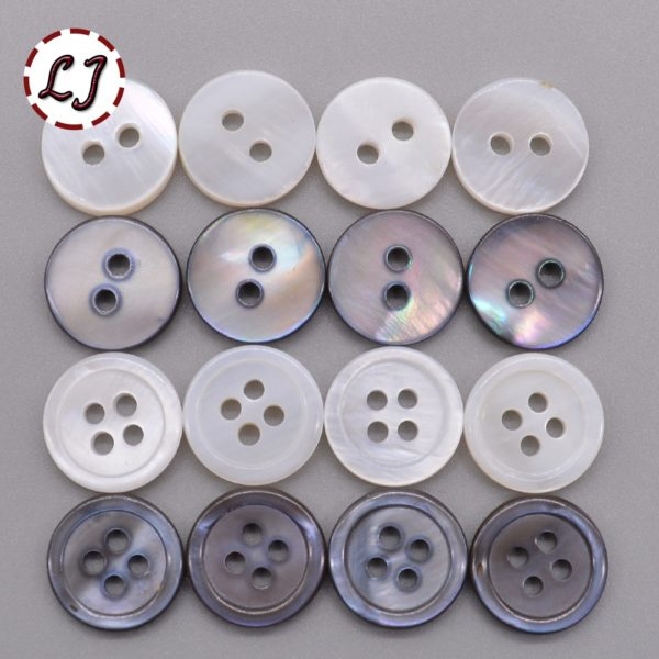 330pcs/lot 12mm MOP White or Grey Buttons, 2 or 4 hole. These lovely round Mother of Pearl (MOP) 12mm buttons are available in 30 piece packs in either white or grey and with either 2 or 4 holes