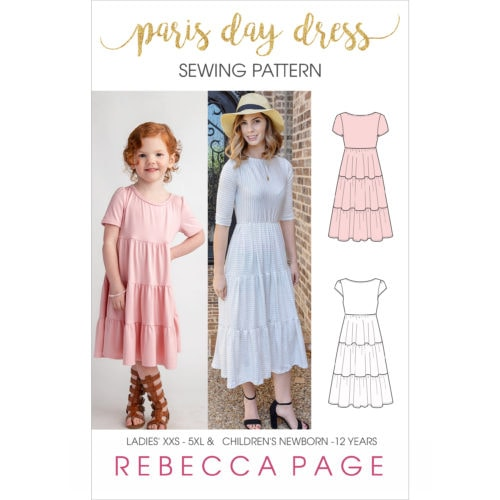 If you liked our Paris Party Dress, then you will love this gorgeous gathered dress sewing pattern for knits: The Paris Day Dress