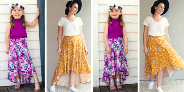 The Hayley High Low skirt is a maximum-wow pattern! A five-panel skirt with an elasticated back waist, POCKETS, and n optional sash ?