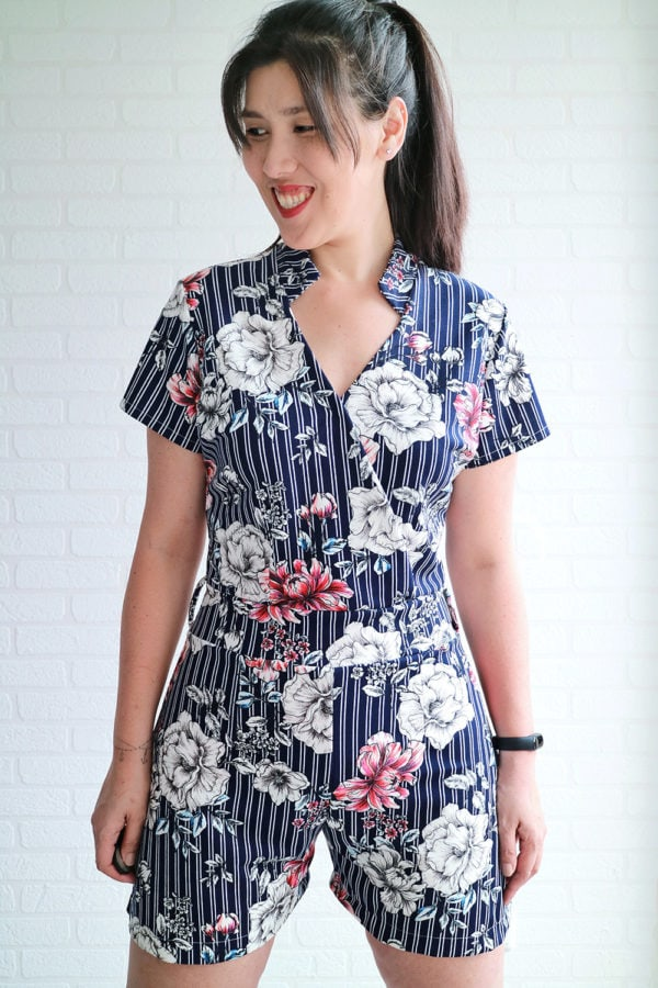 This ladies jumpsuit sewing pattern is the height of sophisticated, comfortable, and easy dressing! The all-in-one style of this faux wrap romper is love!