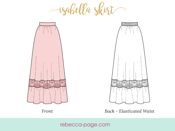 The Isabella boho maxi skirt sewing pattern is boho chic; a look that combines flattering silhouettes, comfort, and a pinch of unique quirk.