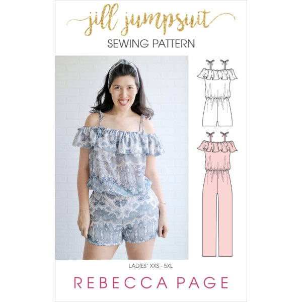Jill, a fabulously fun ladies off the shoulder jumpsuit sewing pattern in sizes XXS to 5XL with a frilled shoulder flounce for extra interest!