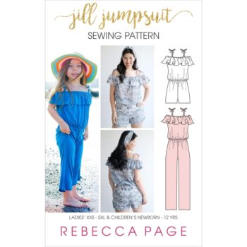 Jill, a summery off the shoulder jumpsuit sewing pattern in sizes newborn to 12 years and XXS to 5XL with a frilled shoulder flounce for extra interest.