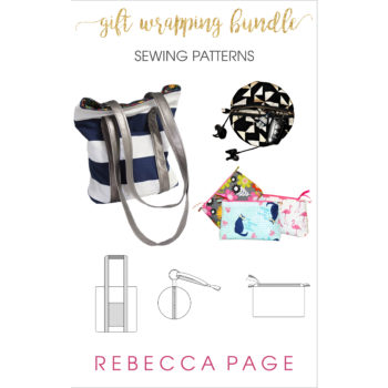 """Sew your wrapping paper! The Tote Bag, Zoe Zip Pouches, and Zip Ornaments are all brilliant and practical wrapping """"paper"""" solutions. The Tote Bag makes an excellent gift bag that can be re-used over and over again. The Zip Ornaments and Zoe Zip Pouches are handy little bags for smaller gifts and storage, and perfect scrap busters too!"""
